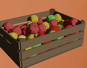 Low-poly Wooden apple basket 3D model