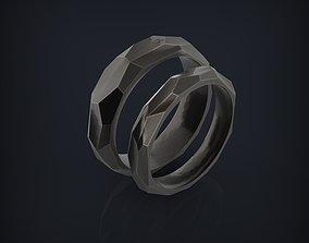 3D printable model Forged hammered faceted wedding bands