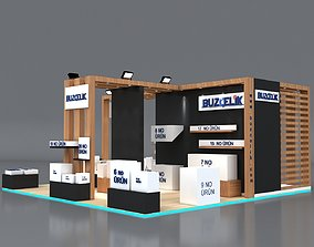 Exhibition Stand 8x8m Height 360 cm 4 Side Open 3D Model