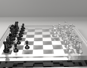 Glass Chess Board 3D model