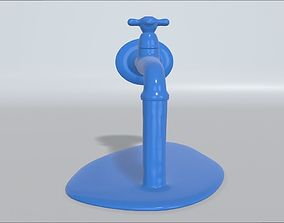 Water tap with running water 3D printable model