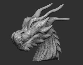game-ready Fantasy Dragon Head high and lowpoly and