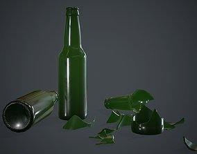 Green Glass Broken Bottles PBR Game Ready 3D model