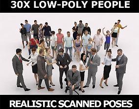 30x MAN WOMAN BUSINESS SUMMER CASUAL PEOPLE 3D asset 1