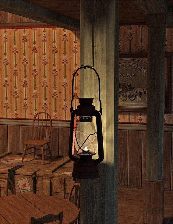 Scene with Kerosene Lamp