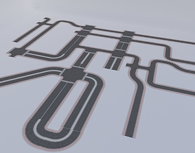 3D asset ROAD SETS WITH ALL JUNCTION