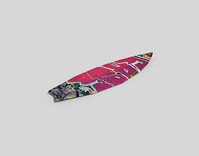 3D model low poly surfborad