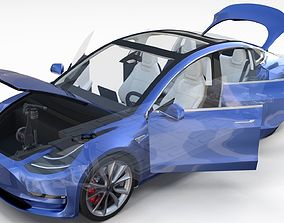 Tesla Model 3 with interior and chassis
