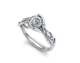 Leaves 6mm stone Engagement ring Printable 3d model