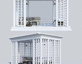 3D model White wood pergola and furniture
