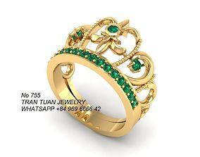 3D print model 755 Crown Ring for women