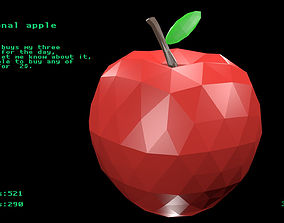 Polygonal apple 3D asset