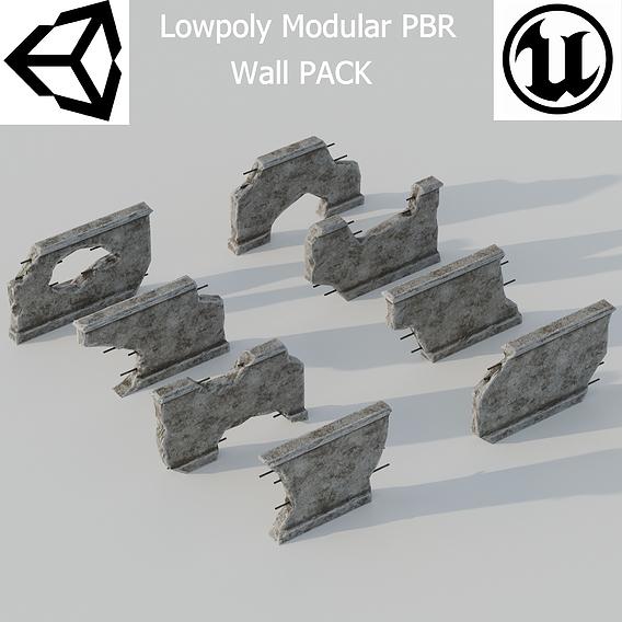 Modular Wall Lowpoly PBR Pack