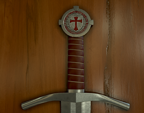 3D asset low-poly Accolade Sword of the Knights Templar
