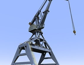 3D model Crane Gray for shipyard cargo terminal or port