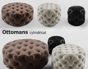 3D model Ottomans cylindrical set
