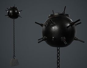 Black Painted Metal Naval Mine PBR Game Ready 3D model