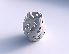 3D printable model Vase low bulky helix with faceted cuts