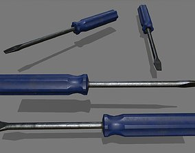 3D asset low-poly screwdriver steel