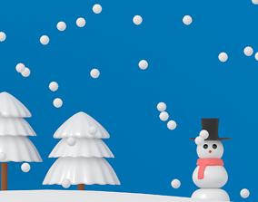 3D model Cartoon Snowman
