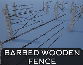 Lowpoly Modular Barbed Wooden Fence 3D model