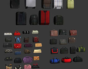 Low poly Bags and suitcases 3D asset