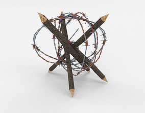 3D model low-poly Lowpoly Barb Wire Obstacle