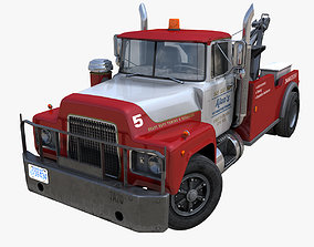 Vintage tow truck 3D model game-ready