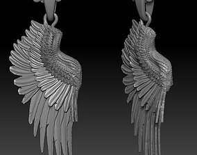 3D printable model pendant angel wing double-sided