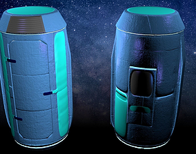 3D model Game-Ready Space Storage Capsule