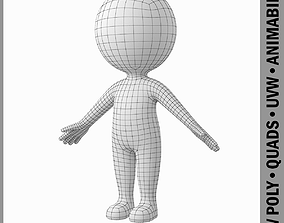 3D model game-ready Cute Stylized Stickman in A-Pose