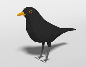 Low Poly Cartoon Blackbird 3D model