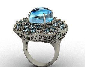 Diamond and Topaz ring 3D print model