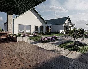3D model LANDSCAPE BACKYARD DESIGN OF LUXURY HOUSE