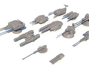 Sci-fi Guns Set model
