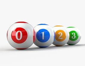 Bingo Balls set with PBR Textures 3D model