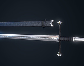 Realistic Low poly long sword 3D asset