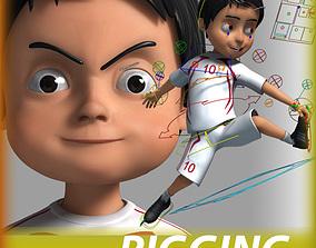 rigged Cartoon football Boy Character 3D model