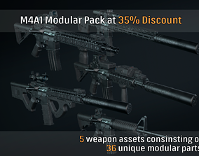 M4A1 Custom Modular Bundle 01 3D