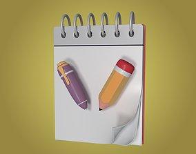 Cartoon Pencil Pen and Notepad 3D model