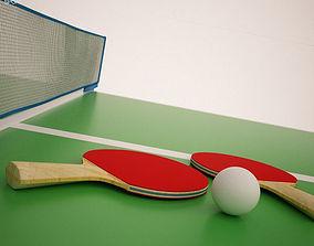 Ping Pong Rackets Balls 3D asset