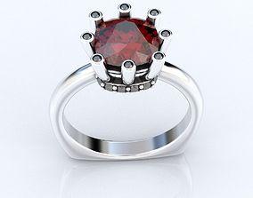 3D print model Stylish ring with a large diamond cushion 1