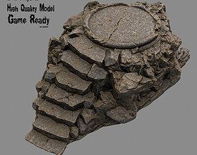 3D asset low-poly Temple