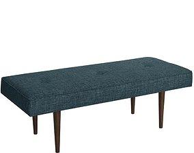 Zuma Charcoal Foweler Upholstered Bench 3D