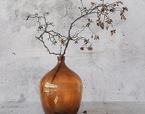3D Branch in brown bottle