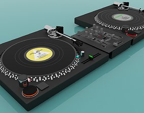Turntable and Mixer Dj 3D
