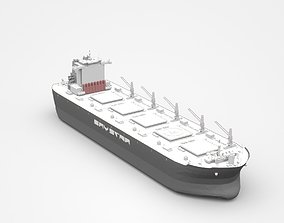 Large Grey Freight Ship 3D