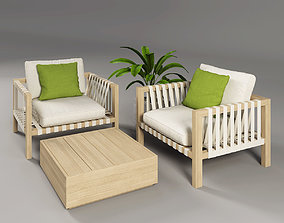 3D Outdoor Chairs Set