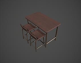 Dark Wood and Bronze Metal Breakfast Bar 3D model