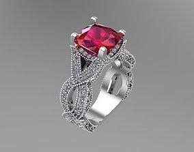 Diamond Cushion gold rings NN059 3D print model